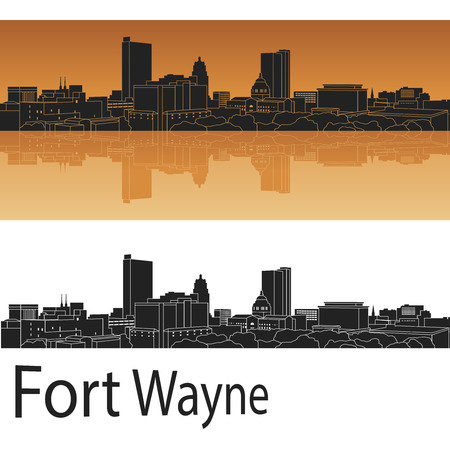 Fort Wayne skyline in orange background in editable vector file