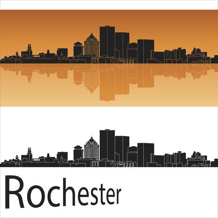 Rochester skyline in orange background