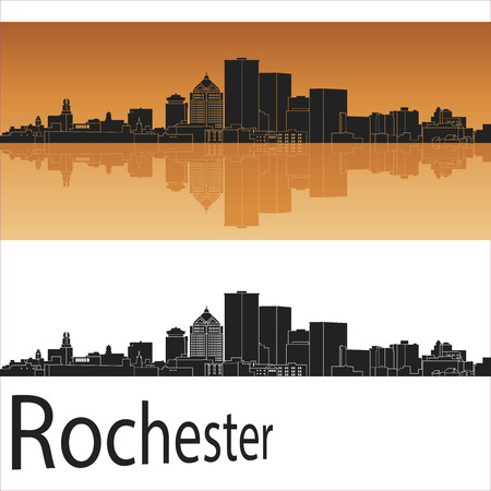 silhouette america: Rochester skyline in orange background