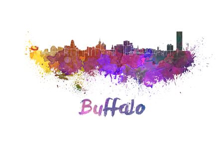 Buffalo skyline in watercolor splatters with clipping path 版權商用圖片