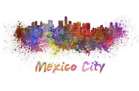 クリッピング パスと水彩の飛び散りでメキシコ シティ スカイライン