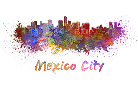 클리핑 패스와 함께 수채화 뿌려 놓은 멕시코 시티의 스카이 라인