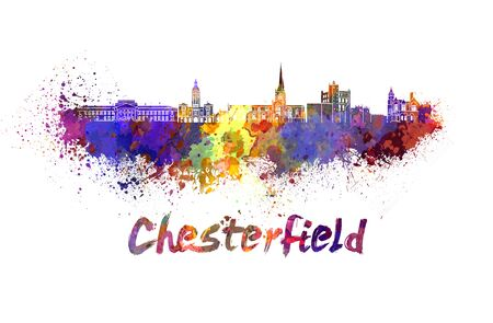 chesterfield: Chesterfield skyline in watercolor splatters with clipping path