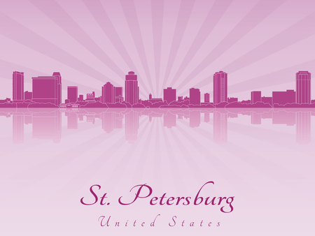 st petersburg: St Petersburg skyline in purple radiant orchid in editable  Illustration