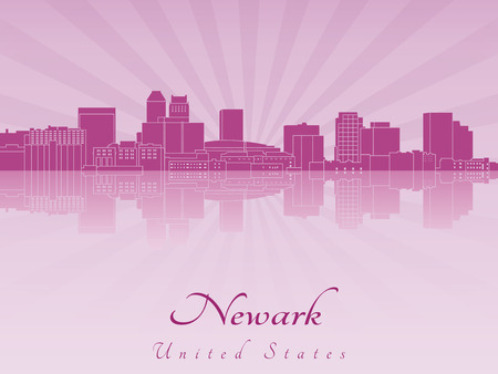 radiant: Newark skyline in purple radiant orchid in editable file