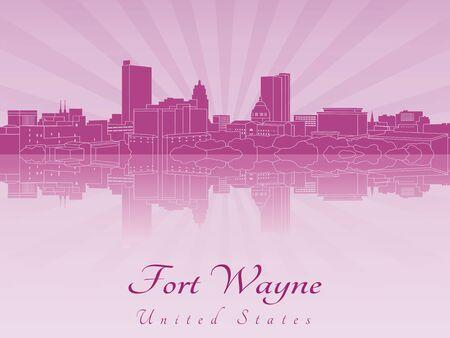 Fort Wayne skyline in purple radiant orchid in editable file Illustration
