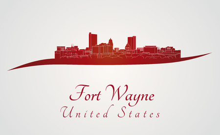 Fort Wayne skyline in red and gray background in editable vector file