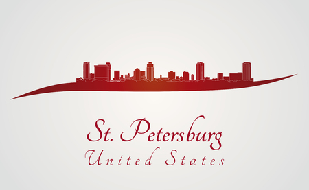 petersburg: St Petersburg skyline in red and gray background in editable vector file Illustration