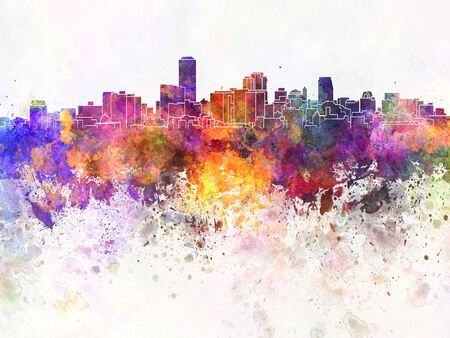 adelaide: Adelaide skyline in watercolor background