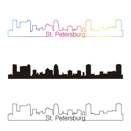 st petersburg: St Petersburg skyline linear style with rainbow in editable vector file