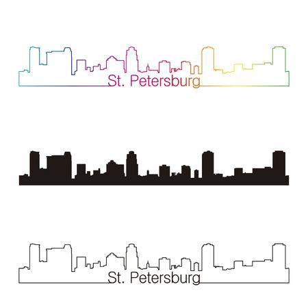 st petersburg: St Petersburg skyline linear style with rainbow in editable vector file