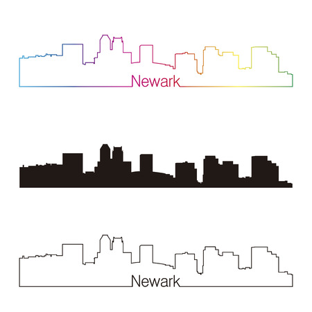 jersey city: Newark skyline linear style with rainbow in editable vector file