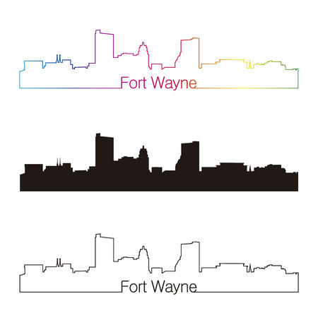 Fort Wayne skyline linear style with rainbow in editable vector file
