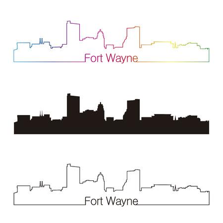 Fort Wayne skyline linear style with rainbow in editable vector file