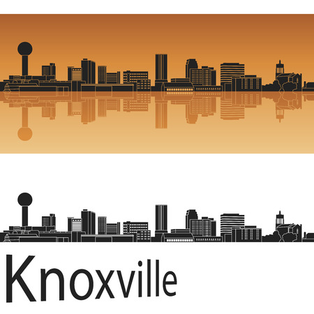 Knoxville skyline in orange background in editable file