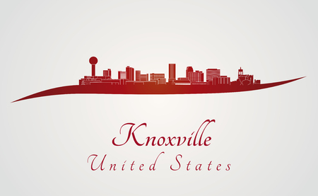 Knoxville skyline in red and gray background in editable vector file Illustration