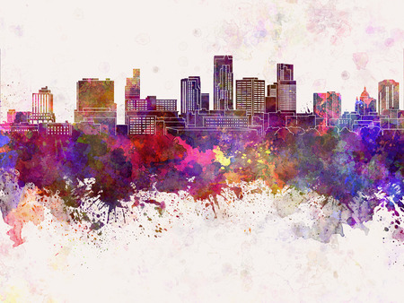 paul: St. Paul skyline in watercolor background