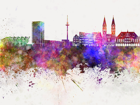 bremen: Bremen skyline in watercolor background Stock Photo