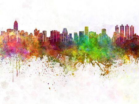 水彩画背景バンコクのスカイライン
