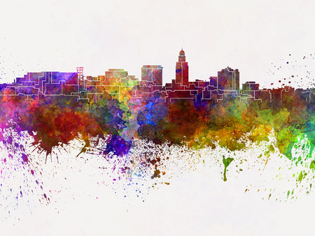 lincoln: Lincoln skyline in watercolor background