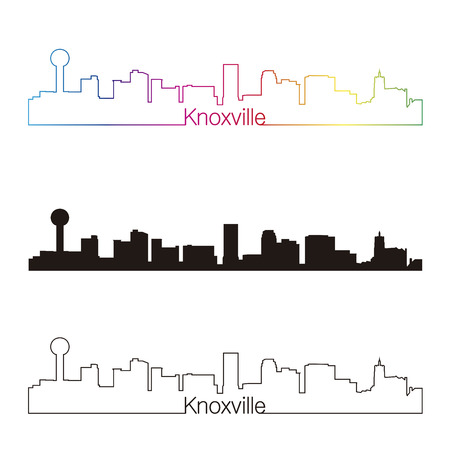 Knoxville skyline linear style with rainbow in editable vector file Ilustrace