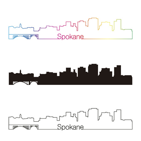 Spokane skyline linear style with rainbow in editable vector file
