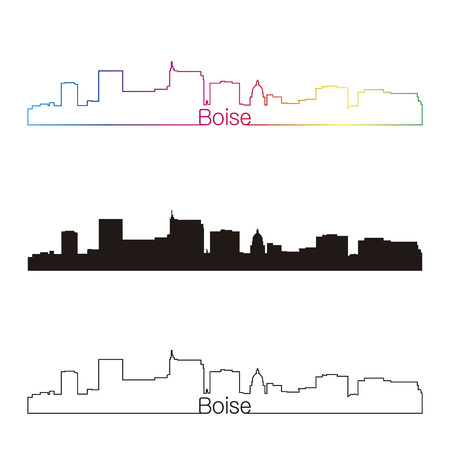 Boise skyline linear style with rainbow in editable vector file Ilustração