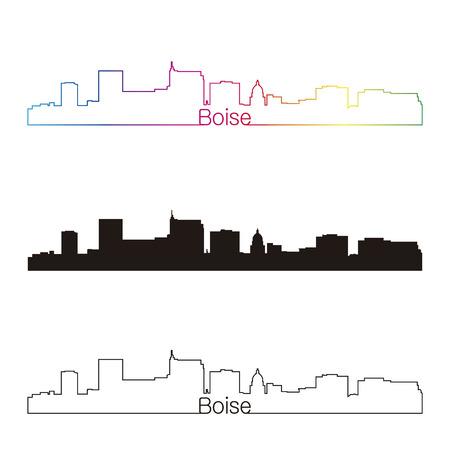 Boise skyline linear style with rainbow in editable vector file Illustration