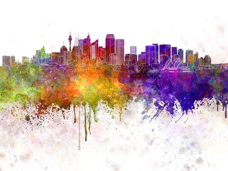 sydney skyline: Sydney v2 skyline in watercolor background
