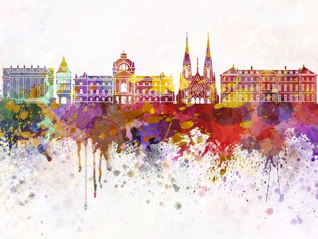 strasbourg: Strasbourg skyline in watercolor background Stock Photo