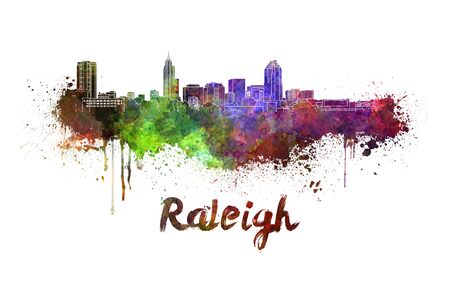 carolina: Raleigh skyline in watercolor splatters with clipping path