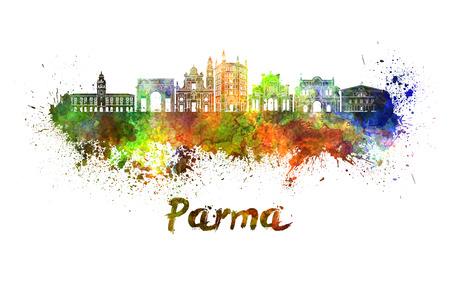 fondo para bebe: Horizonte de Parma en salpicaduras de acuarela con trazado de recorte Foto de archivo