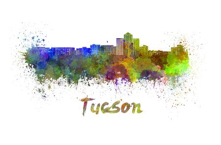 arizona: Tucson skyline in watercolor splatters with clipping path