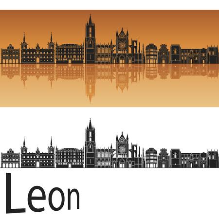 leon: Leon skyline in orange background in editable vector file