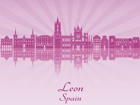 Leon skyline in purple radiant orchid in editable vector file Vettoriali