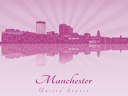 radiant: Manchester skyline in purple radiant orchid in editable vector file Illustration