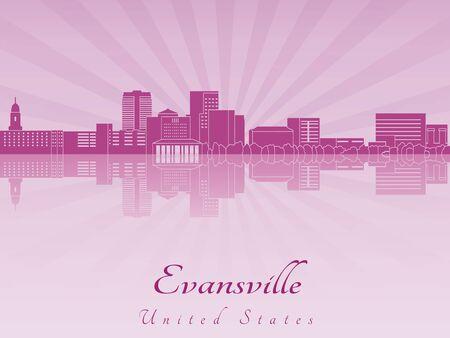 Evansville 스카이 라인 편집 가능한 벡터 파일에 보라색 빛난 난초