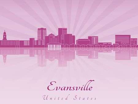 Evansville skyline in purple radiant orchid in editable vector file