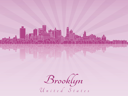 Brooklyn skyline in purple radiant orchid in editable vector file
