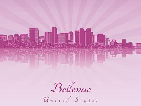 radiant: Bellevue skyline in purple radiant orchid in editable vector file Illustration