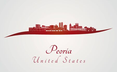 Peoria skyline in red and gray background in editable vector file
