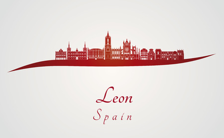 leon: Leon skyline in red and gray background in editable vector file Illustration