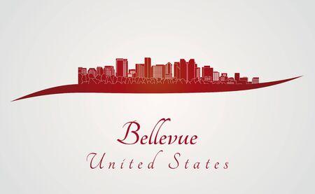 bellevue: Bellevue skyline in red and gray background in editable vector file