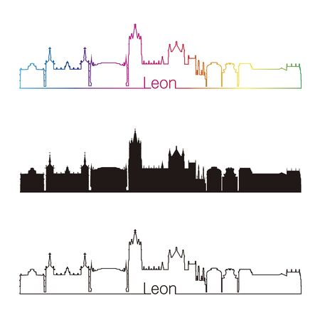 leon: Leon skyline linear style with rainbow in editable vector file