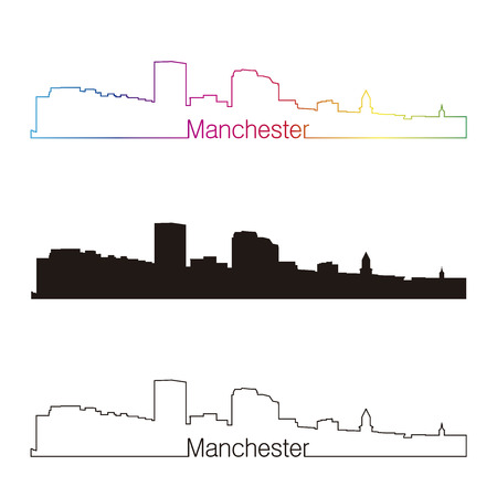 manchester: Manchester skyline linear style with rainbow in editable vector file