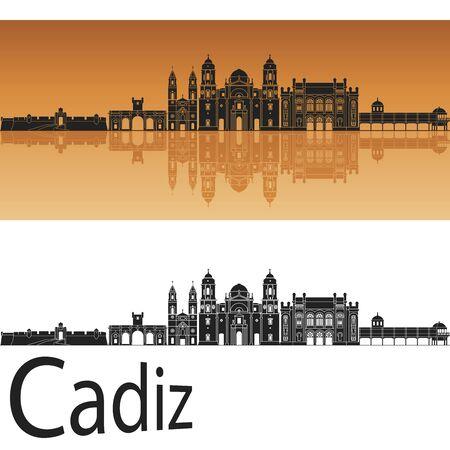 cadiz: Cadiz skyline in orange background in editable vector file