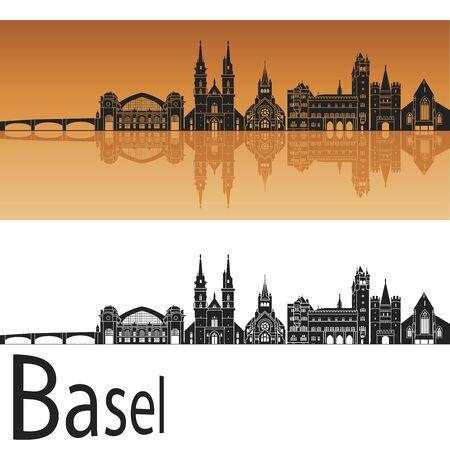 switzerland: Basel skyline in orange background in editable vector file