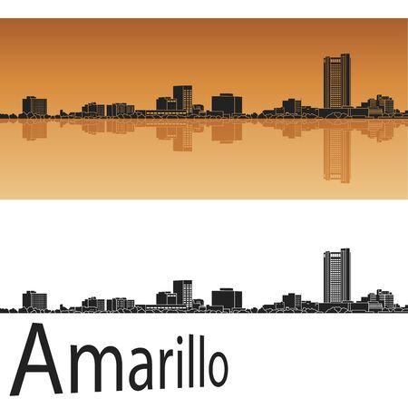 Amarillo skyline in orange background in editable vector file