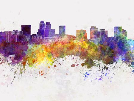 Newark skyline in watercolor background