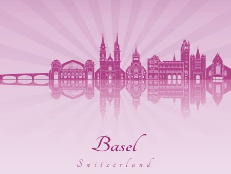 radiant: Basel skyline in purple radiant orchid in editable vector file Illustration